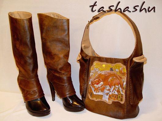 Ручная роспись сумки  сделана по картине художника Антона Горцевича. Сумка и гетры из натуральной кожи.