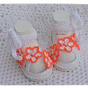 Работы для детей, ручной работы. Ярмарка Мастеров - ручная работа Пинетки туфельки на подошве. Handmade.