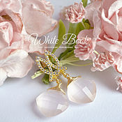 Украшения handmade. Livemaster - original item Earrings with rose quartz large, gold plated. Handmade.