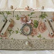 """Для дома и интерьера ручной работы. Ярмарка Мастеров - ручная работа """"Сладкий запах кремовых роз"""" - шкатулка для украшений. Handmade."""