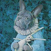 Картины и панно ручной работы. Ярмарка Мастеров - ручная работа Бульдожек и зайчик. Handmade.