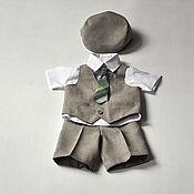 Работы для детей, ручной работы. Ярмарка Мастеров - ручная работа Нарядный комплект для мальчика: кепка, жилет и шорты. Handmade.