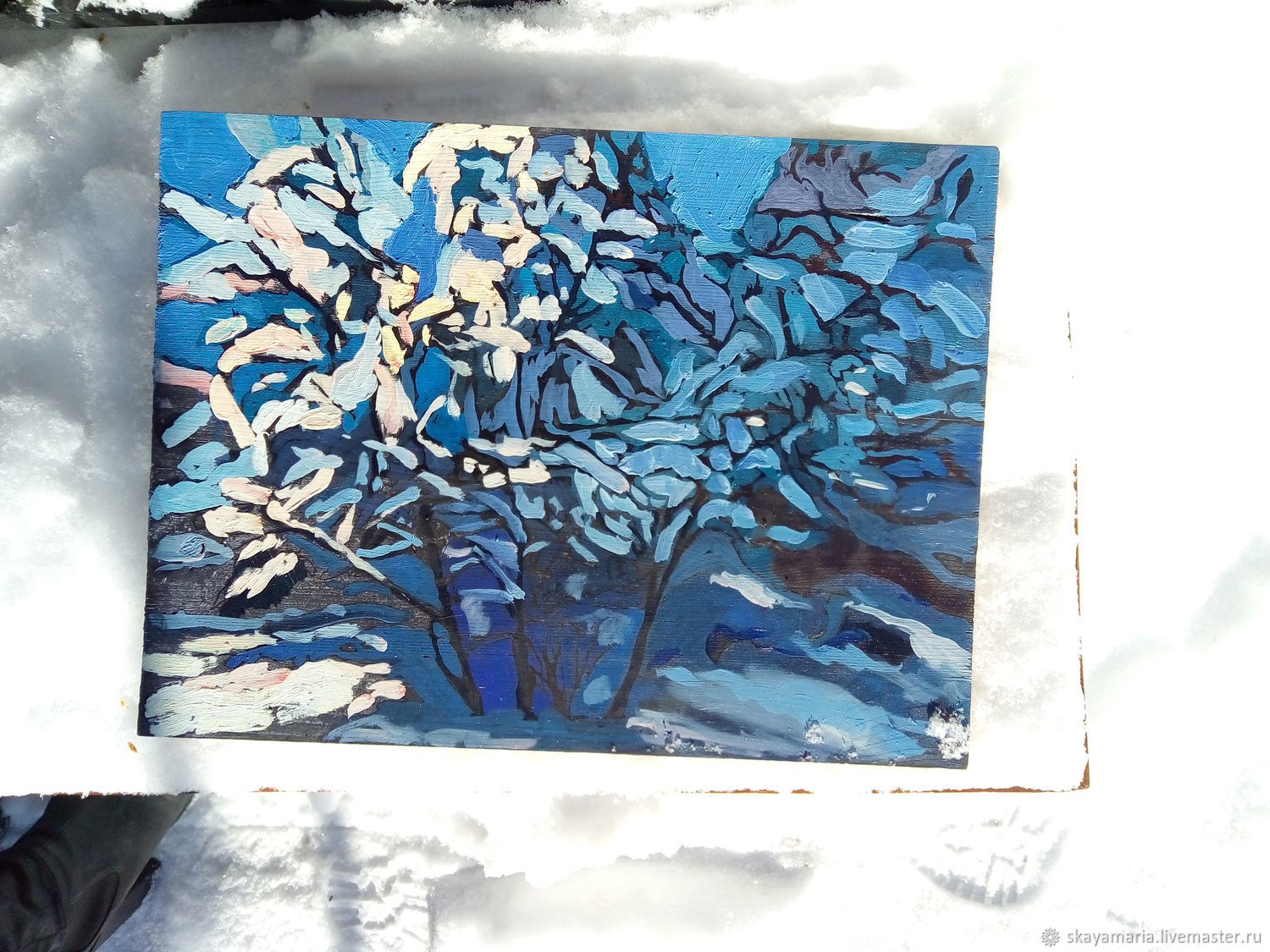 Oil painting on Board impressionism 'Winter day', Pictures, Moscow,  Фото №1