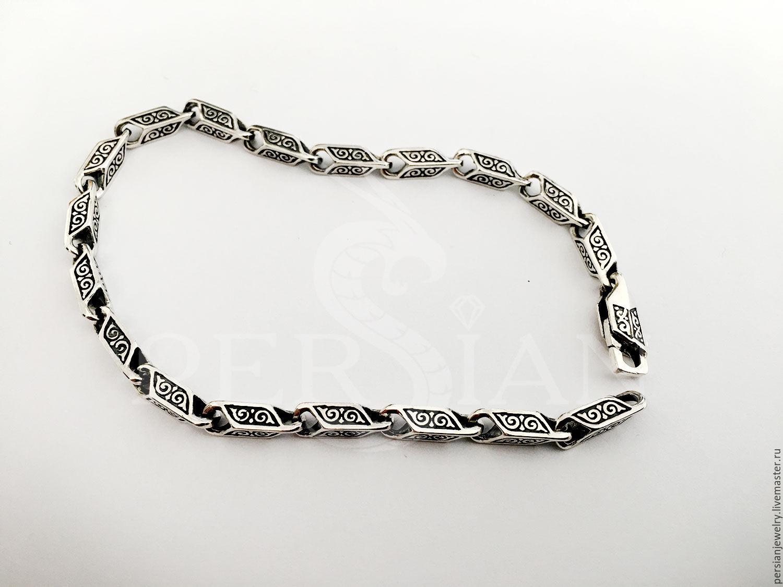 Men's silver bracelet, cast, with small links, Chain bracelet, Sevastopol,  Фото №1