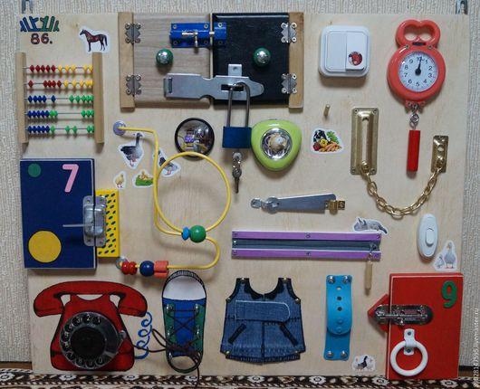 Развивающие игрушки ручной работы. Ярмарка Мастеров - ручная работа. Купить РАЗВИВАЮЩАЯ ДОСКА. Handmade. Комбинированный, развитие моторики, доска