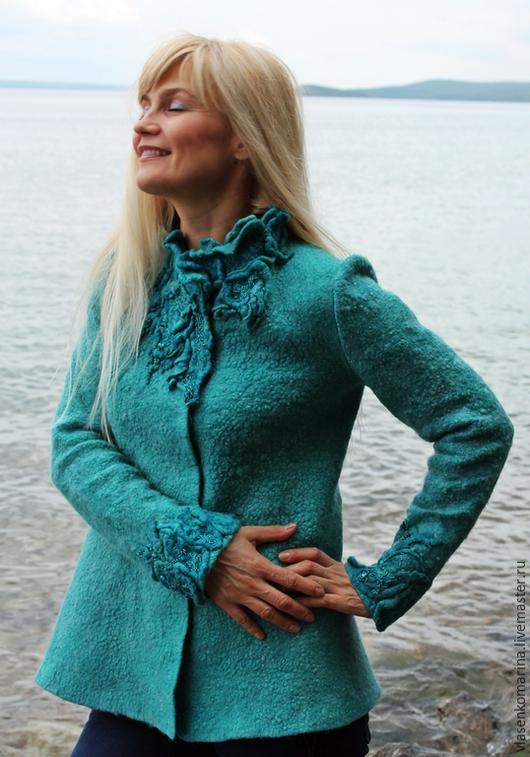 Пиджаки, жакеты ручной работы. Ярмарка Мастеров - ручная работа. Купить Жакет валяный Море долго снилось. Handmade. Бирюзовый