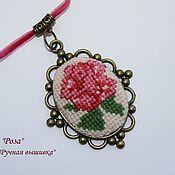 "Украшения handmade. Livemaster - original item Pendant, rose pendant, pendant with embroidery ""Rose"". Handmade."