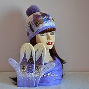 Аксессуары handmade. Livemaster - original item Kit felted lavender-vanilla beanie and mittens Winter`s tale. Handmade.