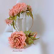 Цветы и флористика handmade. Livemaster - original item Coral rose - a set of accessories silk - ACTION!!!!. Handmade.