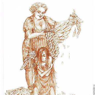"""Картины и панно ручной работы. Ярмарка Мастеров - ручная работа графика """"Ангелы"""". Handmade."""