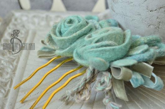 Заколки ручной работы. Ярмарка Мастеров - ручная работа. Купить Валяный гребешок в волосы «Мята». Handmade. Розы, ретро, очарование