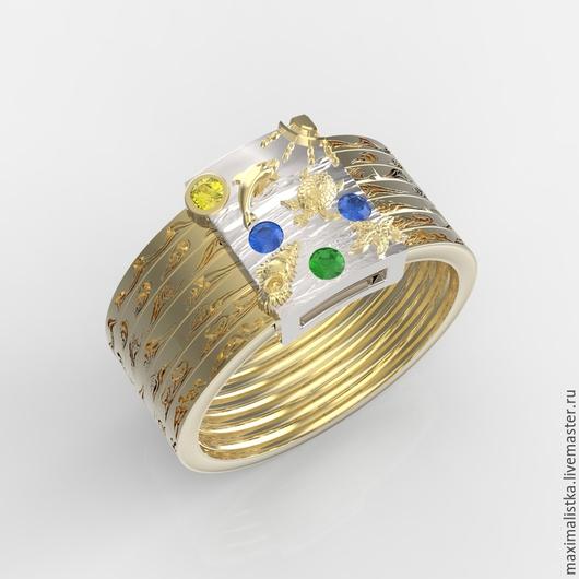 """Кольца ручной работы. Ярмарка Мастеров - ручная работа. Купить Кольцо """"Дайвинг"""" Золото 585 жёлтое и белое, сапфиры. Handmade."""