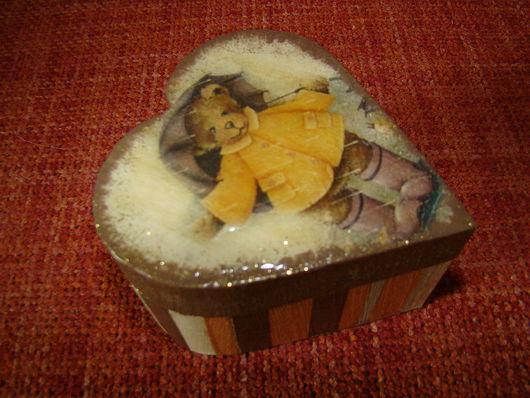 Шкатулки ручной работы. Ярмарка Мастеров - ручная работа. Купить Шкатулка с мишкой. Handmade. Дерево, клей для декупажа