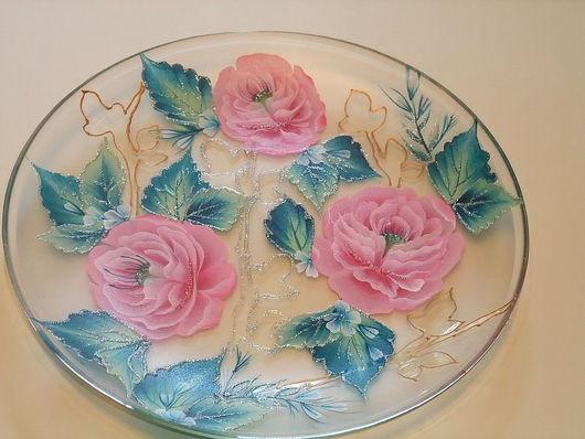 Декоративная посуда ручной работы. Ярмарка Мастеров - ручная работа. Купить Декоративная тарелка с розами. Handmade. Подарок, декоративная тарелка