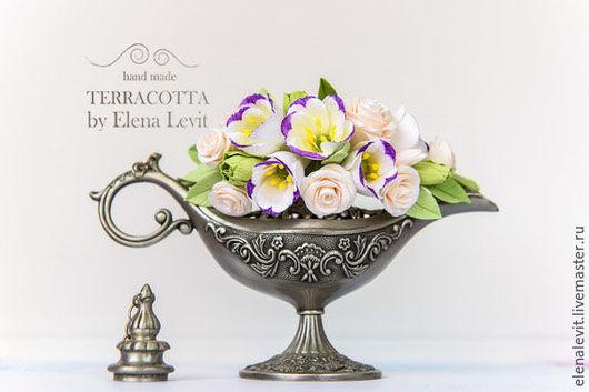 Гребень с цветами из полимерной глины.Terracotta by Elena Levit.