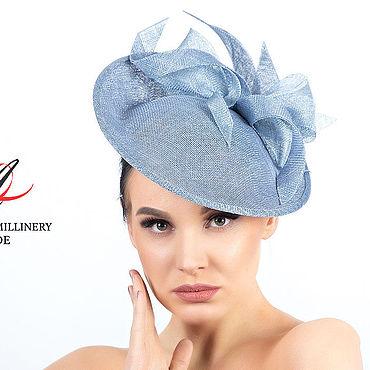 """Аксессуары ручной работы. Ярмарка Мастеров - ручная работа Шляпы: Голубая вечерняя шляпка  для скачек """"Miss Blue"""". Handmade."""