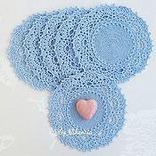 Для дома и интерьера ручной работы. Ярмарка Мастеров - ручная работа Набор из 6 салфеток голубые. Handmade.