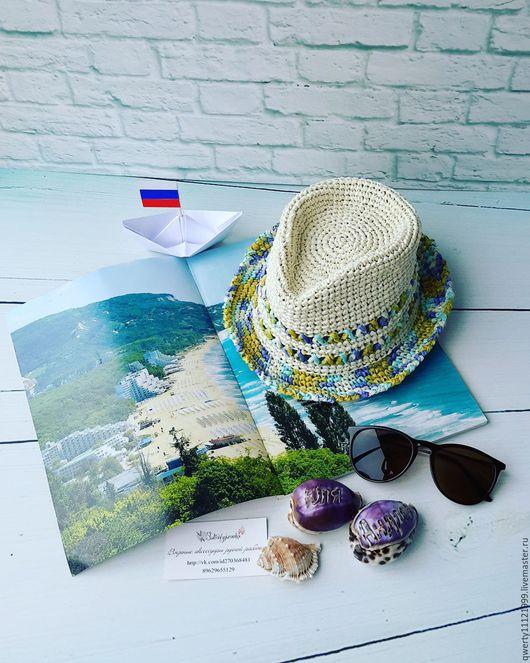 """Шляпы ручной работы. Ярмарка Мастеров - ручная работа. Купить Шляпа трилби """"Средиземноморье"""" (рафия). Handmade. Шляпа, шляпа для девочки"""