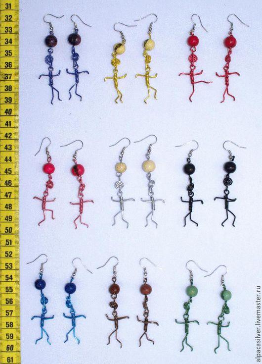 Серьги ручной работы. Ярмарка Мастеров - ручная работа. Купить Серёжки из металла в виде человечков, разные цвета. Handmade. Комбинированный