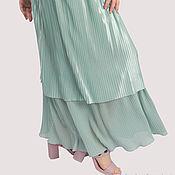 Одежда handmade. Livemaster - original item Skirt mint satin chiffon floor length. Handmade.