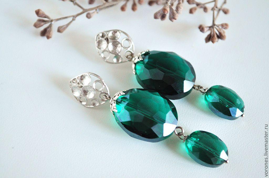 Earrings 'Emerald', Earrings, Moscow,  Фото №1