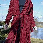 Одежда handmade. Livemaster - original item Cardigan with diamonds and hooded in Bordeaux color. Handmade.