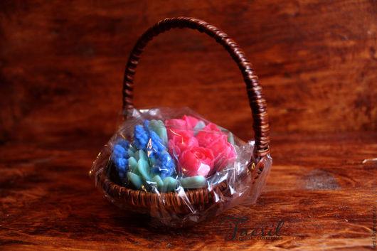 Мыло ручной работы. Ярмарка Мастеров - ручная работа. Купить Корзинка с цветами, подарок на 8 марта, сувенирное мыло. Handmade.