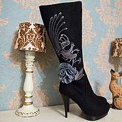 """Обувь ручной работы. Ярмарка Мастеров - ручная работа Валенки """"Петухи"""" черные. Handmade."""