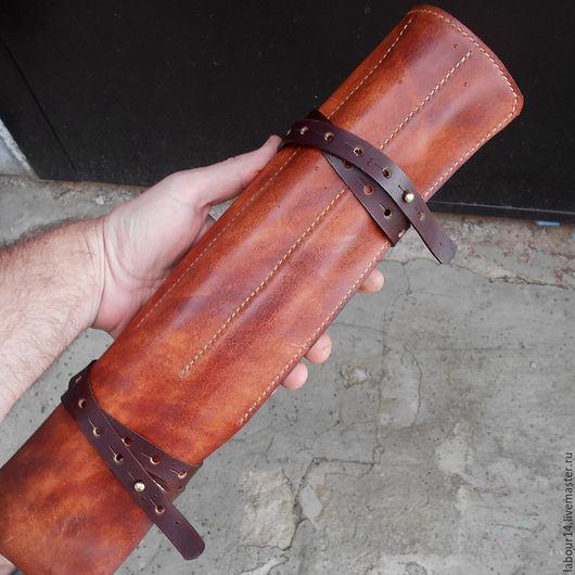 Персональные подарки ручной работы. Ярмарка Мастеров - ручная работа. Купить Чехол кожаный для кухонных ножей. Handmade. Коричневый, повар