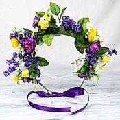 Tiaras handmade. Livemaster - original item The wreath on the head of a yellow-purple. Handmade.