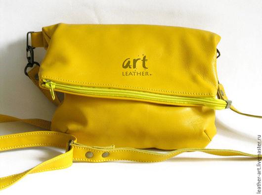 Женские сумки ручной работы. Ярмарка Мастеров - ручная работа. Купить Кожаная сумка Позитивная - желтая. Handmade. Оригинальная сумка