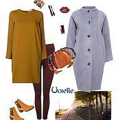 Одежда ручной работы. Ярмарка Мастеров - ручная работа Пальто теплое на осень, из шерсти, голубое, силуэт-кокон. Handmade.