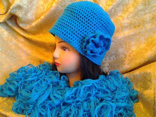 Шляпы ручной работы. Ярмарка Мастеров - ручная работа. Купить Шляпка и шарфик    цвета    лазурь. Handmade. Голубой, шарф, ажурный