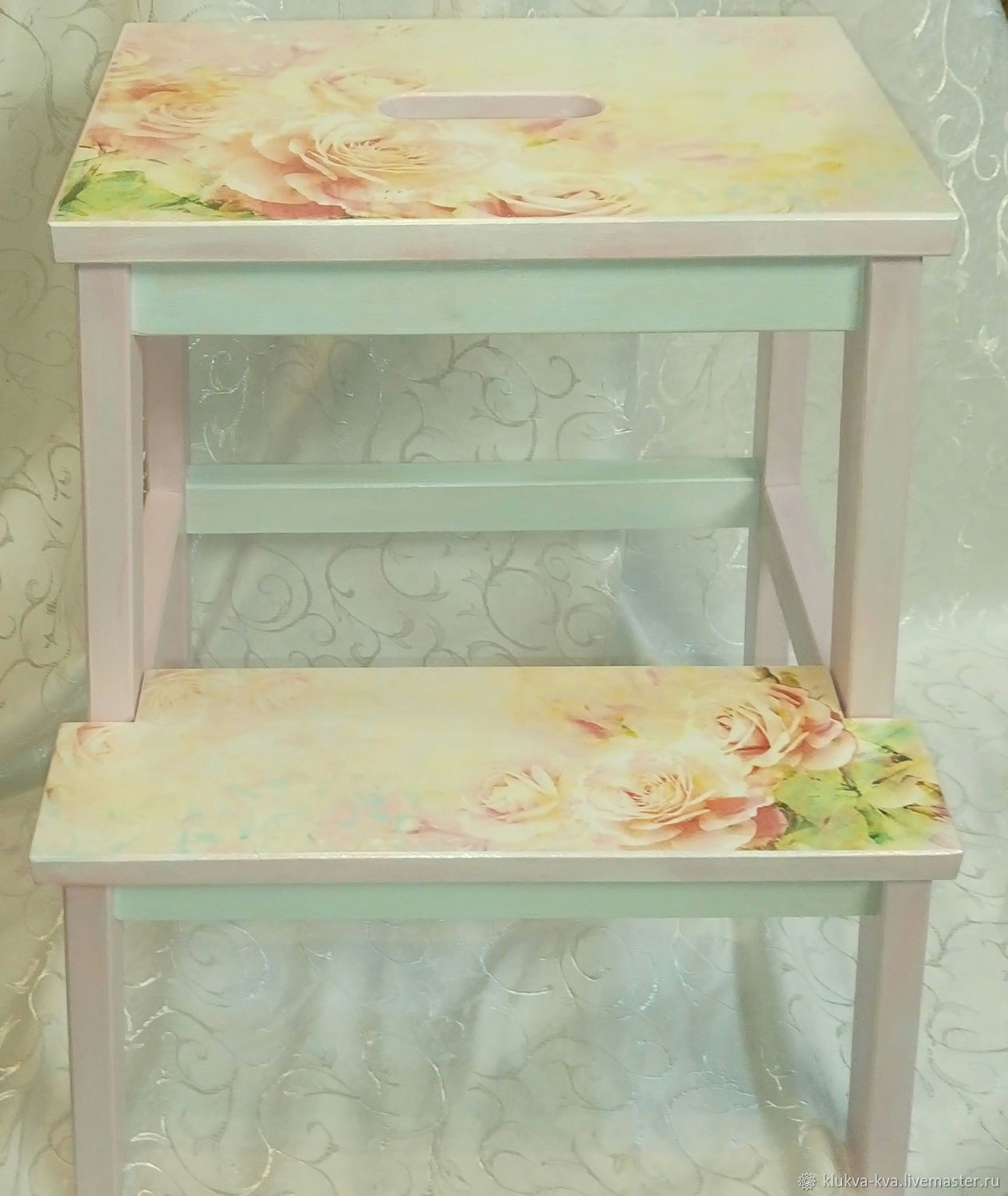 Stool-ladder 'Tender roses', Stools, Moscow,  Фото №1