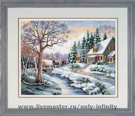 Пейзаж ручной работы. Ярмарка Мастеров - ручная работа. Купить Зимний пейзаж. Handmade. Канва аида (aida), канва, нитки