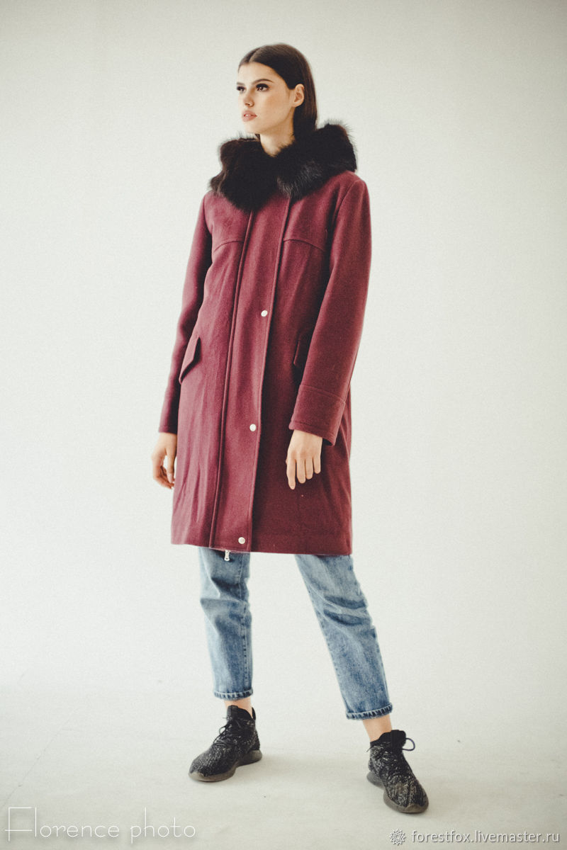 Red Fur Parka Coat with Hood - Long Womens Coats, Parkas jacket, Moscow,  Фото №1