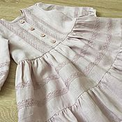 Работы для детей, handmade. Livemaster - original item Linen dress for girls