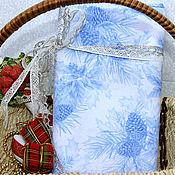 Материалы для творчества ручной работы. Ярмарка Мастеров - ручная работа Новогодняя ткань шишки голубая. Handmade.