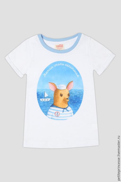 """Одежда для девочек, ручной работы. Ярмарка Мастеров - ручная работа. Купить футболка """"Капитан"""". Handmade. Бирюзовый, Нежное, для девочки, малышам"""