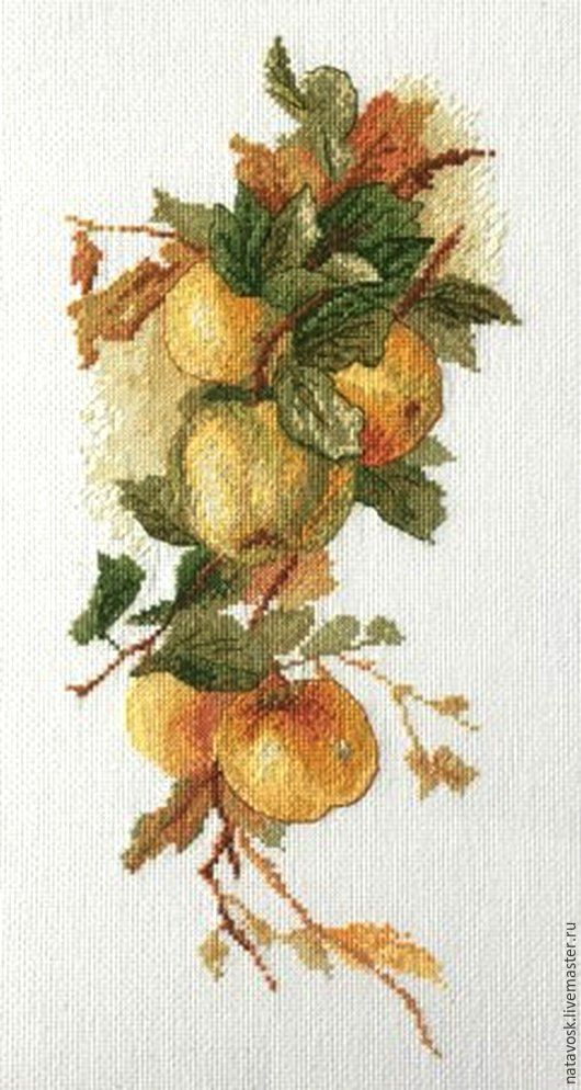 Вышивка ручной работы. Ярмарка Мастеров - ручная работа. Купить Набор для вышивания крестом Аромат яблок. Handmade. Оранжевый, подарок