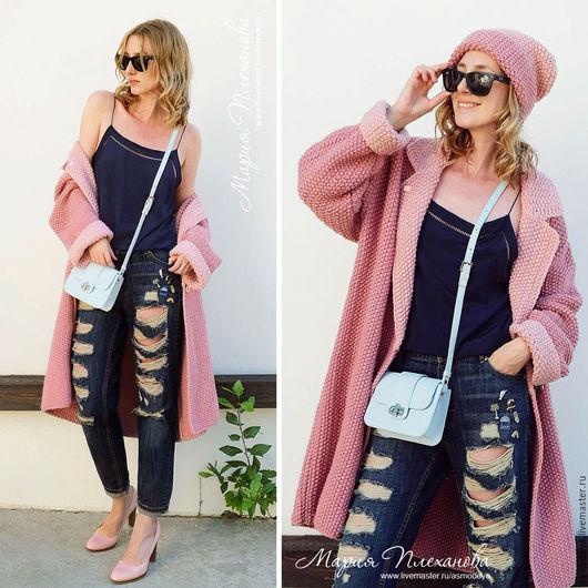 Верхняя одежда ручной работы. Ярмарка Мастеров - ручная работа. Купить Пальто вязаное двухцветное bicolor. Handmade. Розовый
