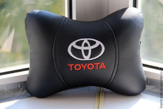 Автомобильные ручной работы. Ярмарка Мастеров - ручная работа. Купить Toyota.Ортопедическая подушка из Эко кожи. Handmade. Черный