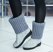 Обувь ручной работы handmade. Livemaster - original item boots felt felting and knitting gray. Handmade.