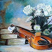 """Картины и панно ручной работы. Ярмарка Мастеров - ручная работа Картина """"Натюрморт со скрипкой и букетом белых роз"""". Handmade."""