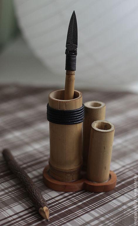 Оружие ручной работы. Ярмарка Мастеров - ручная работа. Купить Бамбуковая роща. Handmade. Подставка для карандашей, нож для конвертов, кожа