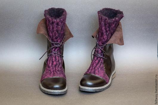 Обувь ручной работы. Ярмарка Мастеров - ручная работа. Купить Сапоги женские войлочные с кожей. Handmade. Бордовый, сапоги женские
