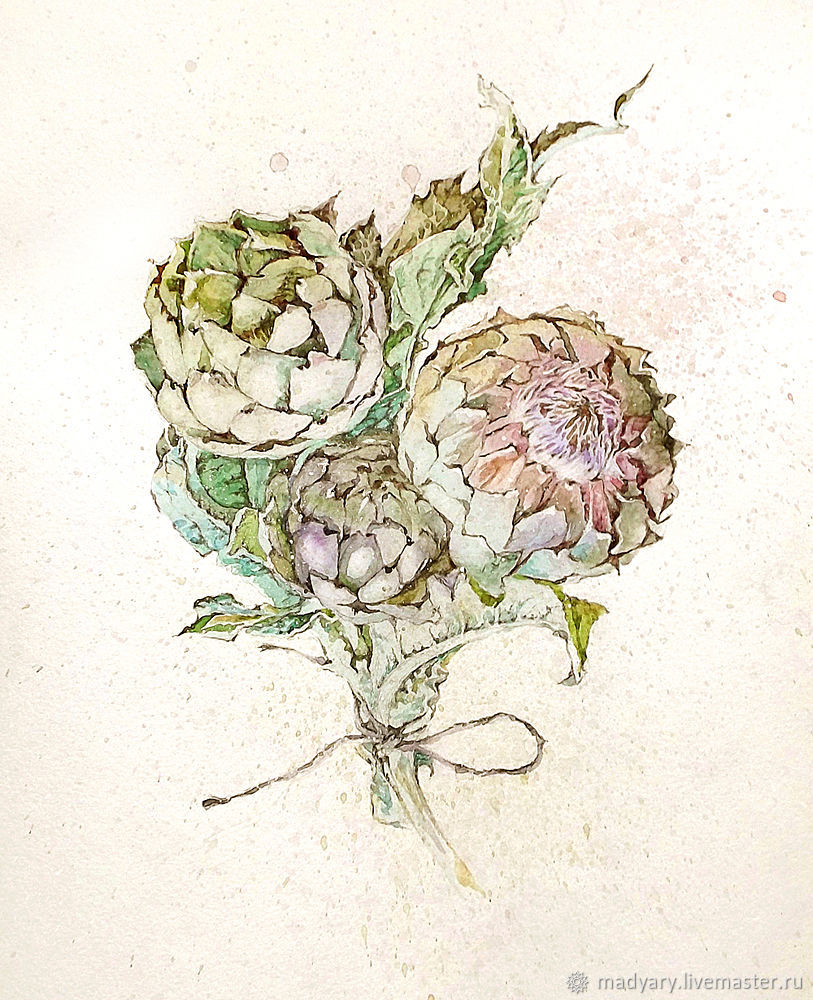 Watercolor painting Artichoke (green, lilac, beige), Pictures, Smolensk,  Фото №1