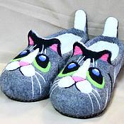 """Тапочки ручной работы. Ярмарка Мастеров - ручная работа Детские валяные тапочки """"Неоновый кот"""". Handmade."""