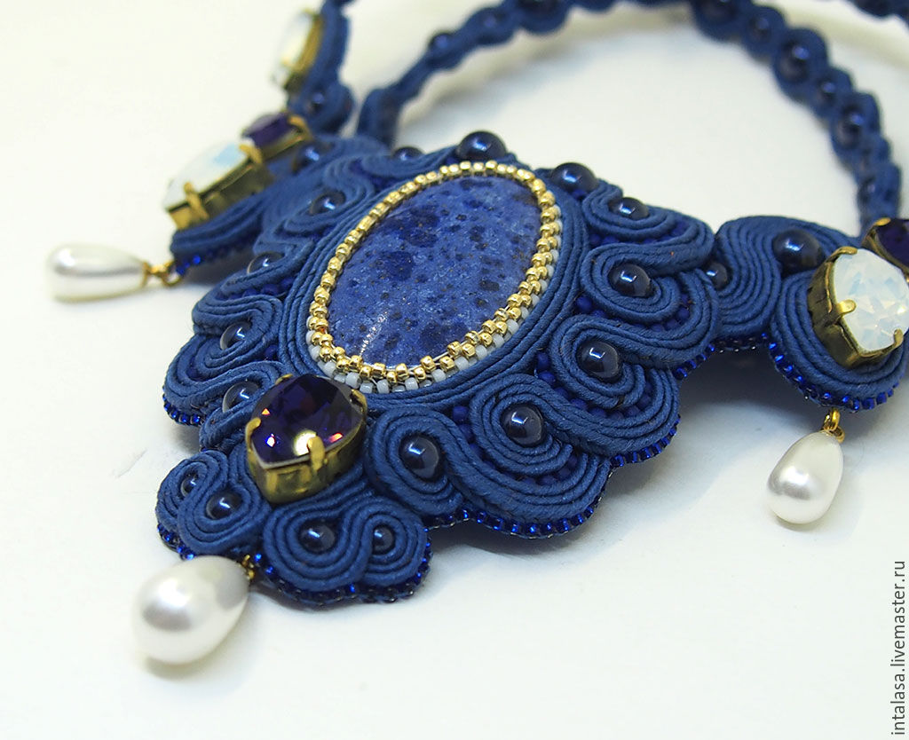 Soutache necklace with dumortierite and Swarovski crystals `Midnight`