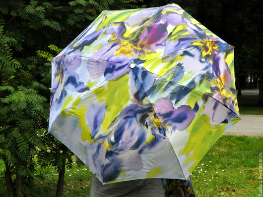 """Персональные подарки ручной работы. Ярмарка Мастеров - ручная работа. Купить комплект """"Ирисы"""" Зонт + платок авторский. Handmade."""